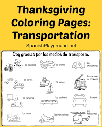 thanksgiving coloring pages transportation spanish playground