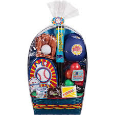 baseball gift basket easter basket with baseball toys and assorted candy 8 pc