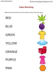 esl pages colors worksheets