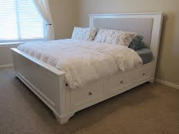 retro white painted mahogany wood bed frame with gray upholstered