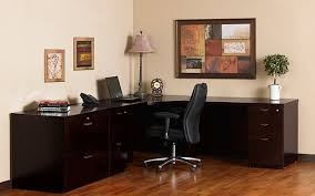 large size corner desk with cabinets and drawers in darkwood finishing a table lamp