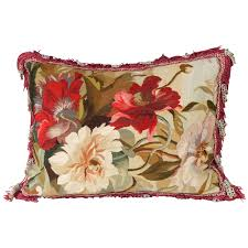 floral tapestry needlepoint pillow for sale at 1stdibs