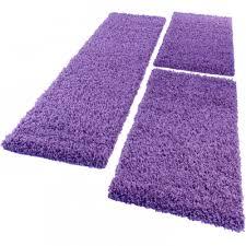 Purple Carpets Bedside Runner Rug 3 Part Carpet Runner Set Shaggy Carpet In