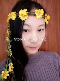 sunflower headband wedding fairy flower crown sunflower headband yellow