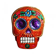 tin sugar skull ornament mexican wall plaque decoration casa frida