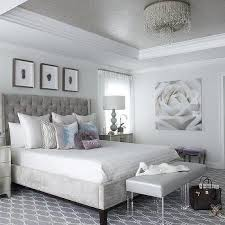 gray and silver bedroom with gray tray ceiling decorating