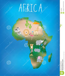 World Map Of Africa by Map Of Africa With Cute Wildlife And Animals Stock Vector Image