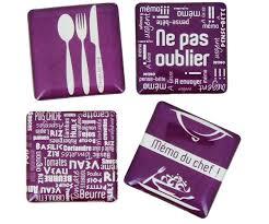 tapis de cuisine violet set memo tableau cuisine du chef avec 4 magnets crayon prune 3858