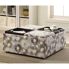 Printed Ottomans Furniture Of America Sorriana Printed Storage Ottoman In Gray