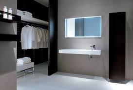 Modern Minimalist Bathroom Modern Wardrobe With Vanity And White Sink With Mirror And Sleek