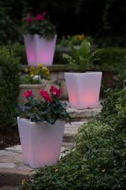 solar illuminated planter small square planter gardeners com