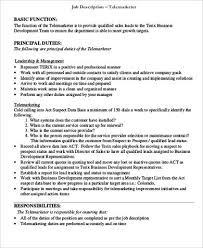 Telemarketing Resume Job Description by Telemarketing Job Description Sample 8 Examples In Word Pdf