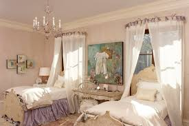 chandelier in girls room design with white sheer curtain in