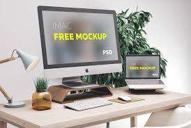 Mac Computer Desk Free Workspace Mockup Design Templates Css Author