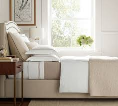 Bed With Headboard Tamsen Curved Upholstered Bed Headboard Pottery Barn