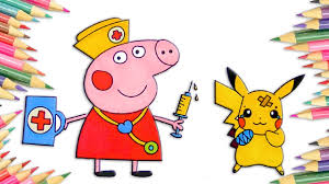how to draw peppa pig doctor pikachu coloring pages art colors