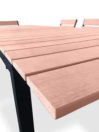 Outdoor Laminate Flooring 9 Piece Eco Wood Extendable Outdoor Patio Dining Set Weathered