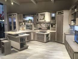 Kitchen With Glass Cabinet Doors Large Gray Cabinets With Clear Glass Door Wall Ovens Wooden