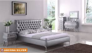 Ancona Bedroom In Silver Tone By American Eagle WOptions - Silver eagle furniture