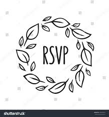 Invitation Card With Rsvp Rsvp Label Hand Drawn Leaf Wreath Stock Vector 534316999