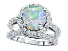 Opal Wedding Ring Sets by Other Rings Marykay Gorgeous White Fire Opal Ring Set In