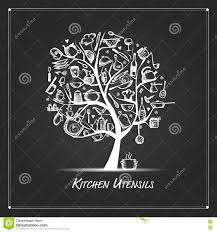 art tree with kitchen utensils sketch drawing for your design