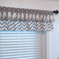 Nursery Valance Curtains Nursery Decor Two Tiered Curtain Elephant Chevron Polka Dot