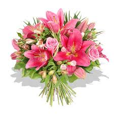 roses and lilies with pink roses and lilies