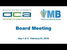 bureau of consumer affairs california veterinary board meeting day 1 of 2