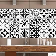 home decor tile black white nordic style retro tile stickers pvc bathroom