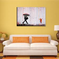 banksy street art colorful rain canvas painting wall picture wal