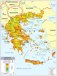 Europe Temperature Map Detailed Temperature Map Of Greece With Prefectures And Major