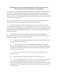 Sample Investment Agreement Independent Contractor Agreement Between An Owner Operator