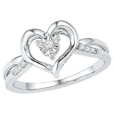 heart ring women s diamond accent prong miracle set heart ring in sterling