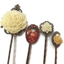 hair slides kokeshi bobby pins set of 4 geisha hair pins kawaii hair slides