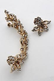 one sided earrings gold metal hook one side earring silver leaf flowers new