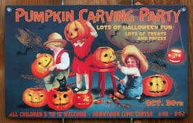 pumpkin carving party tin metal sign halloween vintage style