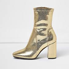 womens boots rivers gold sock boot with block heel boots shoes boots