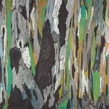 saatchi art large abstract tree art landscape original painting of trees green brown yellow gray white painting by k shoa