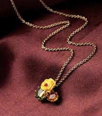red gem necklace images Dyxytwe cute small yellow flower green red gem necklace women jpg