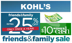 kohl s friends family sale save 25 sitewide earn 10