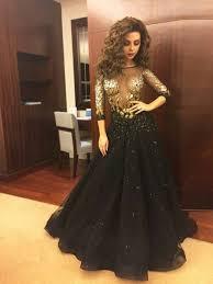 myriam fares celebrity dresses 2015 with half sleeves key hole