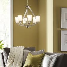 brushed nickel dining room light fixtures shop kichler lighting layla light brushed nickel chandelier at