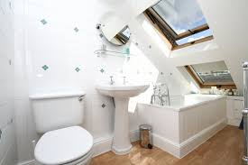 loft conversion bathroom ideas white bathroom furniture set in small loft with bright lights
