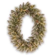 30 glittery bristle pine wreath with battery operated warm white