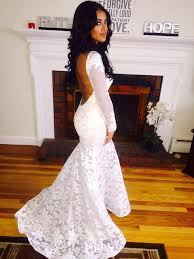 long sleeve lace evening dresses mermaid backless cheap prom gowns