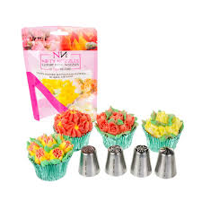 flower decorating tips 4 x nifty nozzles genuine russian flower piping tips sugar and
