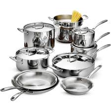 tramontina 14 piece tri ply clad cookware set stainless steel with