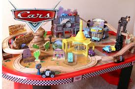 train and track table cars 1 radiator springs race track and train table wooden disney