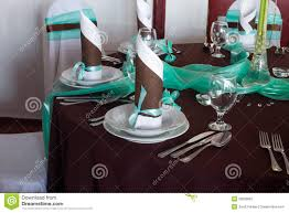 wedding table set with decoration for fine dining or another